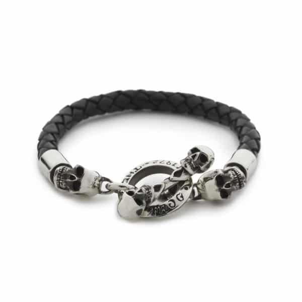 black-woven-leather-bracelet-front
