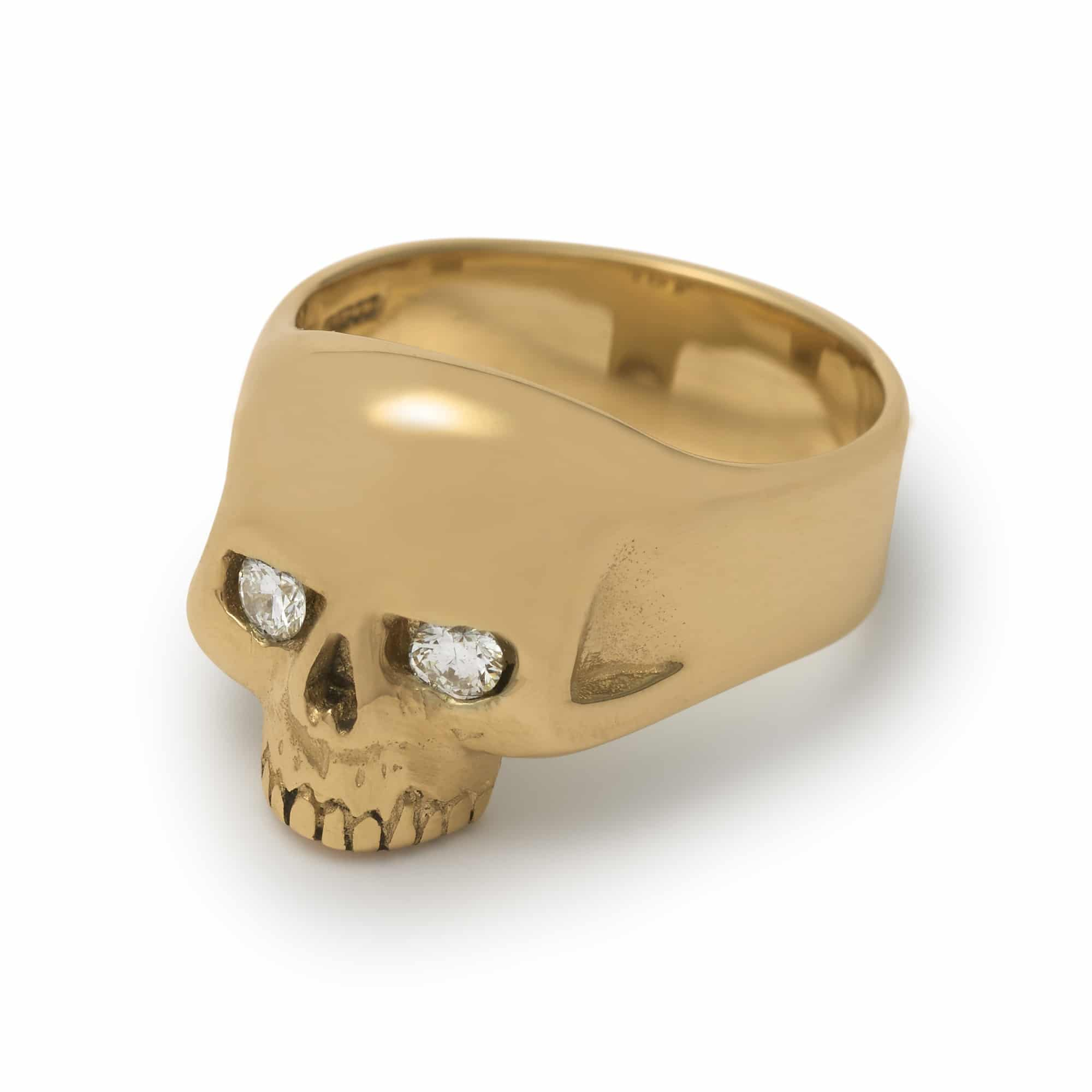 gold smallest evil skull ring with diamonds the great frog