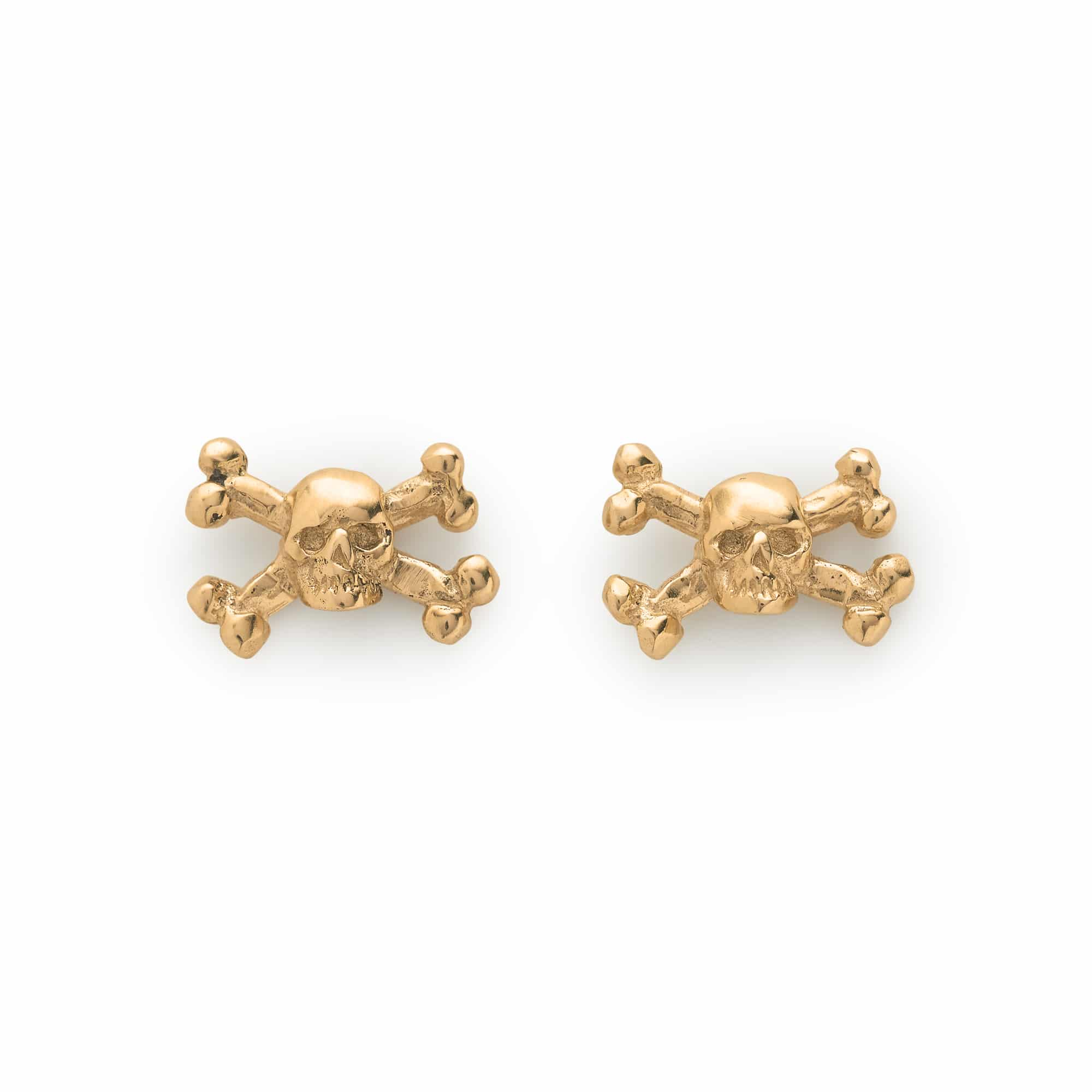 9CT Yellow Gold Skull & Crossbones Ear Studs – The Great Frog