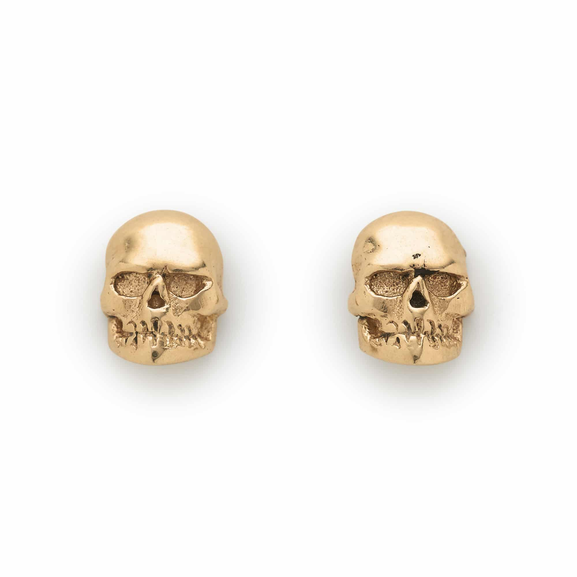 9ct Yellow Gold Skull Ear Studs