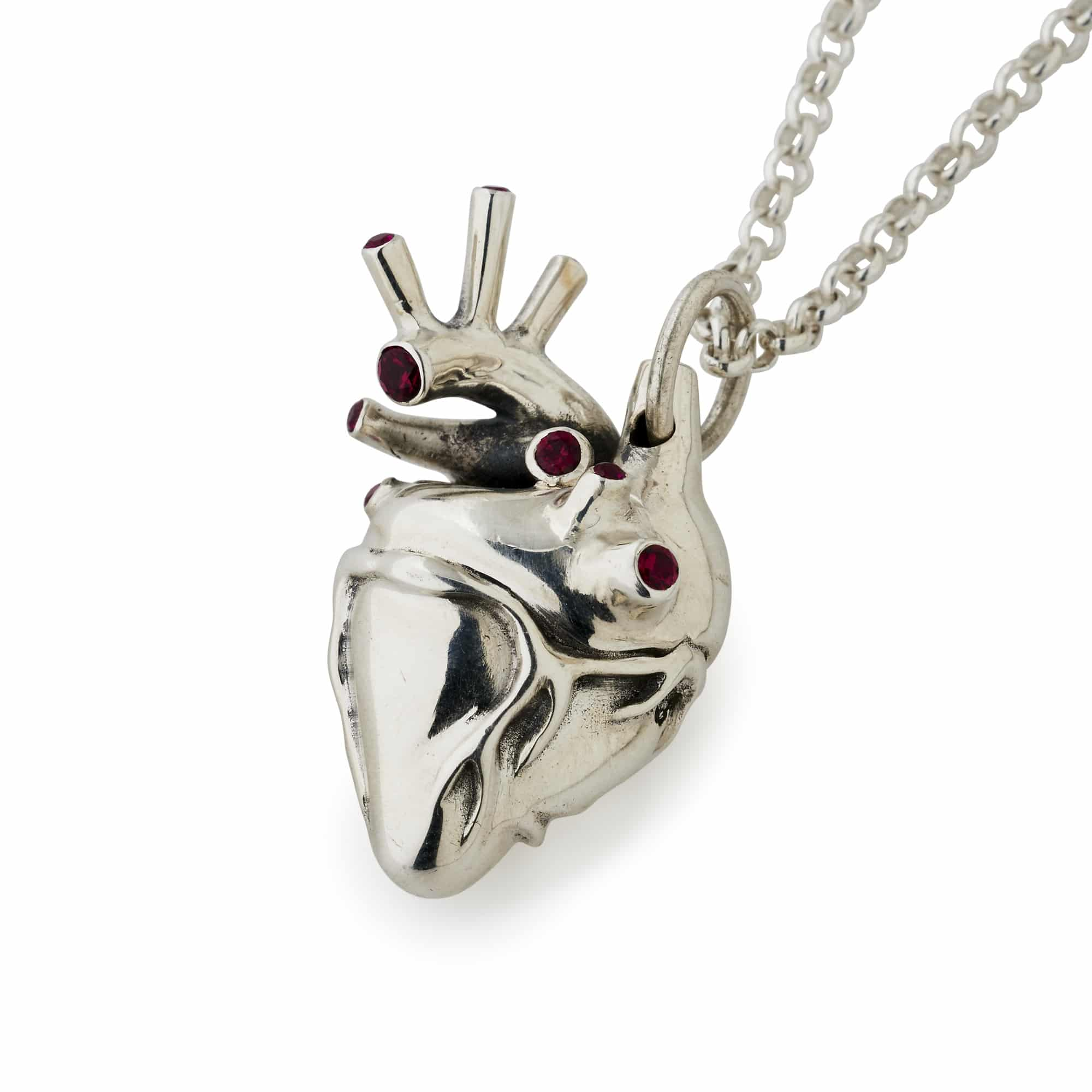Large Silver Anatomical Heart Pendant With Rubies The Great Frog