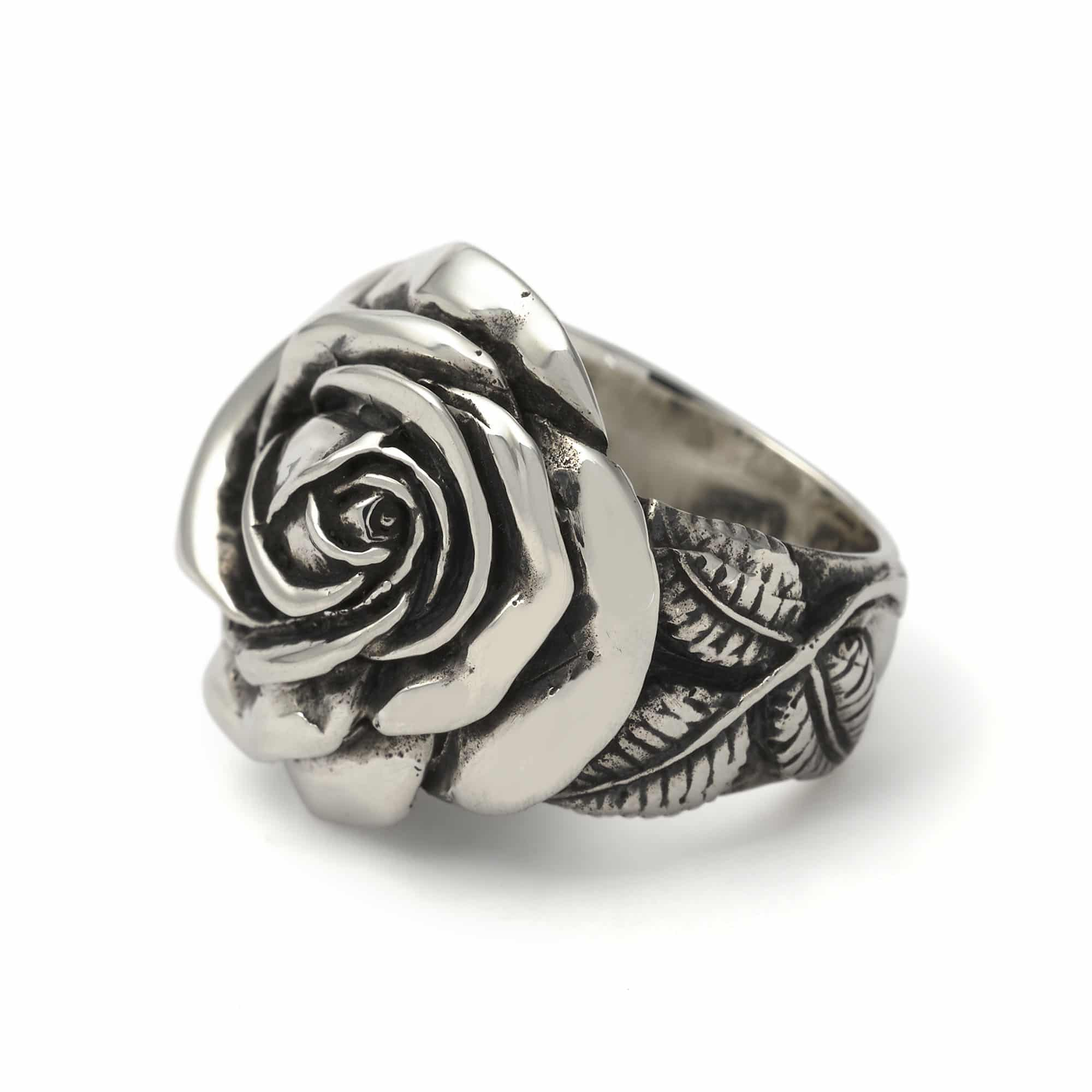 Silver Rose Wedding Rings