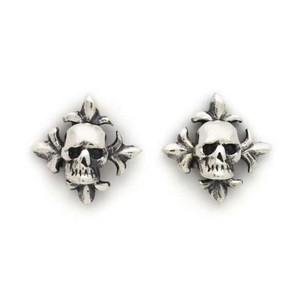 skull-and-fleur-de-lis-earrings-front
