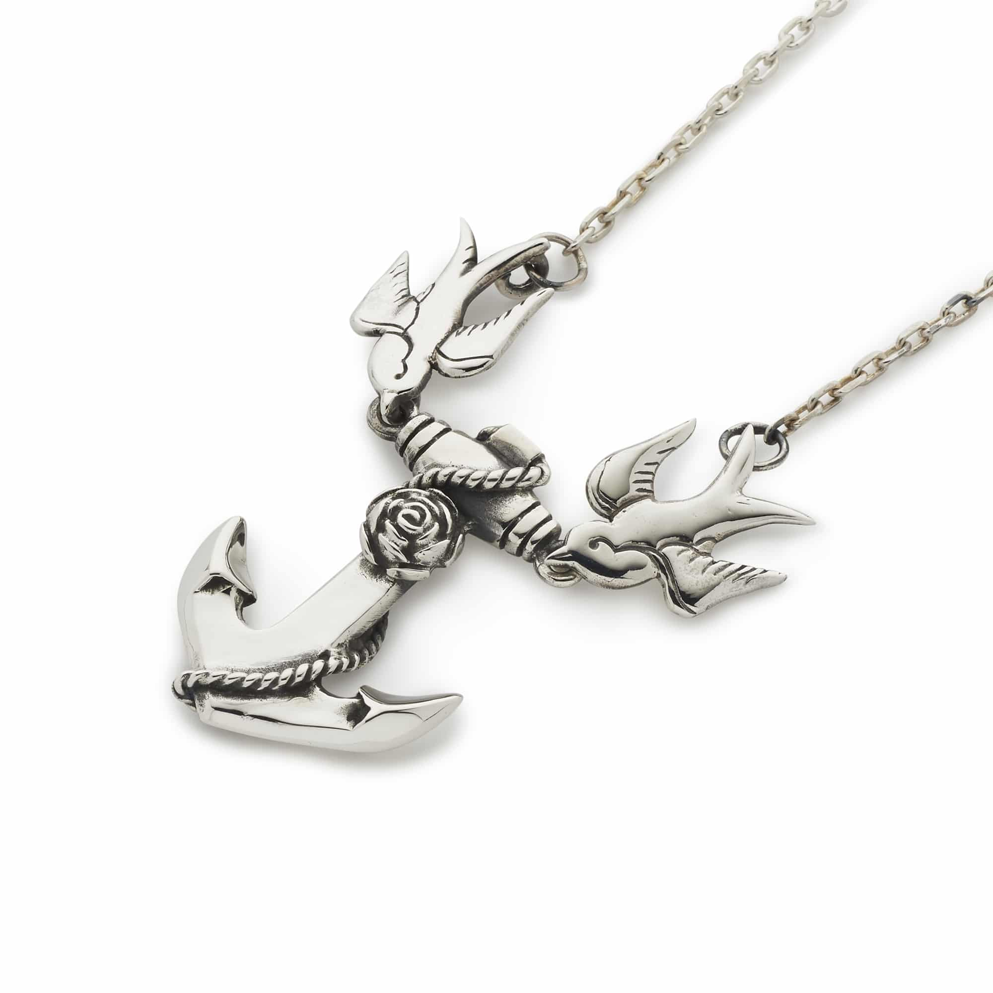 Anchor swallows necklace with chain the great frog anchor swallows necklace with chain aloadofball Images